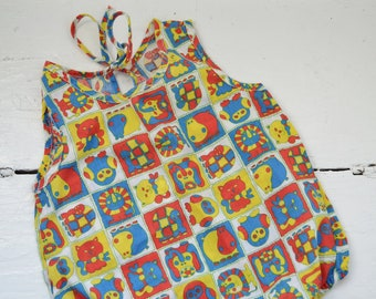 Vintage Baby Animal Print Bodysuit Size 12 Months
