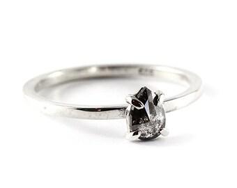 Engagement Ring Diamond Ring Diamond Engagement Black Diamond Ring Grey Diamond Ring Sterling Silver Ring Black Teardrop Diamond Teardrop