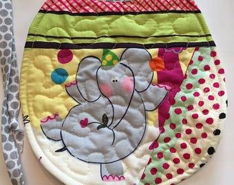 Baby bib, tie bib, animal bib, elephant bib, baby shower gift, quilted reversible bib