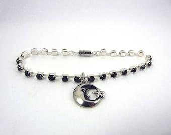Black Rhinestone Moon Charm Bracelet
