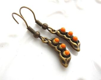 SALE - Pea Pods Antique Brass Earrings