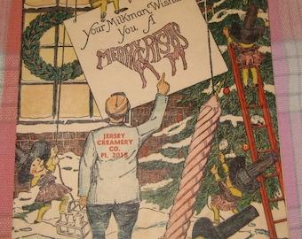 Vintage Ephemera, Jersey Creamery Company Christmas Card, Milkman Christmas Wishes