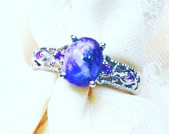 Vintage Charoite & Amethyst Ring In Platinum, Estate Jewelry From NorthCoastCottage Jewelry Design And Vintage Treasures