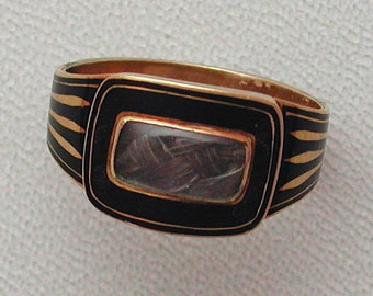 Georgian Gold & Black Enamel Inscribed Mourning Ring with Hair Compartment in Original Box Dated 1803
