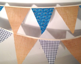 Hessian Bunting with a choice Retro Blue Floral Pattern or Grey Gingham for weddings Baby Showers Choose your own length from 1 meter