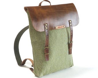 Handmade leather and canvas backpack, Mens backpack, Womens backpack, Green canvas with brown leather upper, straps and detailing.