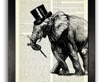 Tap Dancing Elephant Dictionary Art Print Vintage Wall Decal