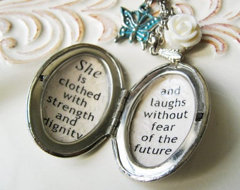 locket  quote necklace Inspirational quote jewelry necklace for women  with  she is clothed with strength and dignity proverbs 31 25