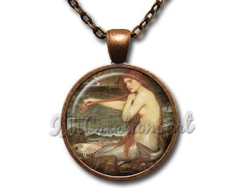 Vintage Mermaid Waterhouse Art Glass Dome Pendant or with Chain Link Necklace FT143