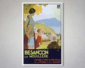 Besançon France VVintage Travel Poster  -  Poster Print, Sticker or Canvas Print / Gift Idea