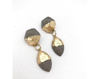 Gold foiled concrete marquise dangle earrings