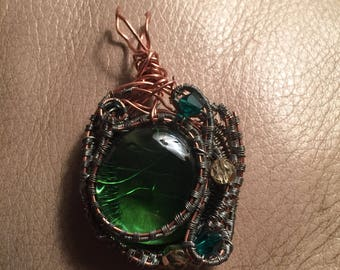 Green Glass Wire Wrapped Pendant