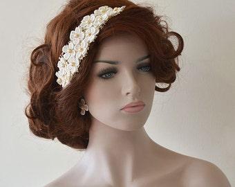 Wedding Lace Headband, Bridal Lace Headband, Wedding Hair Accessory, Bridal Hair Accessory, Lace and Pearl