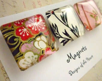 Square Glass Magnet Set - Japanese Paper Collection, Gold, Flowers, Pink