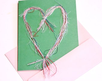 Heart Thread Art Painting Card, Original Paper-Stitched Textile Fiber Notecard, Valentines Day Greeting itsyourcountry