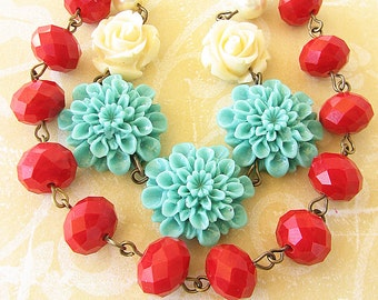Statement Necklace Flower Necklace Beaded Necklace Turquoise Jewelry Red Necklace Multi Strand Bib Necklace