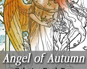 Printable Coloring Book Page for Adults - Angel of Autumn Winged Woman Goddess in Art Nouveau Style Line Art