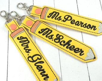 Teacher Appreciation Gifts - Personalized Gifts - Custom Child or Teacher name - keyring with customized lettering - backpack tag - keyfob