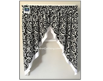 Swag Curtain Swag Black and White Swirl Design with White Skirt Double Layer Window Treatment Bedroom Curtain Kitchen Curtain One of a Kind