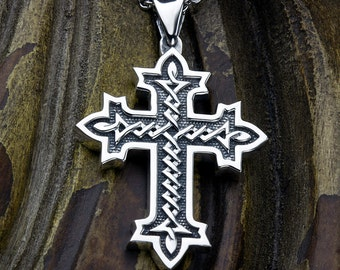 Sterling Silver Twisted Pointed End Weave Christian Cross Necklace Pendant