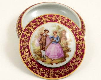 Vintage Limoges France Porcelain Trinket Box,  Leclair Meissnet, 3 Inches, Maroon and Gold, Classic Fragonard Design