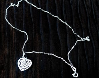 My Heart In Two Places - Silver filigree handcrafted heart & silver linked chain