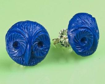 Vintage Blue Glass Owl Button Post Earrings