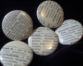 Vintage Dictionary 5 Custom Buttons- You Pick the Words