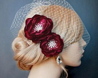 Wedding Hair Flowers, Dark Red Bridal Hair Flowers, Wedding Headpiece, Wedding Sash Accessory, Brooch 2 Piece Set - Crimson Blood Red Blooms
