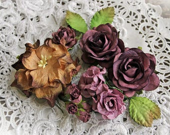 Reneabouquets Curly Roses & Gardenias Flower Set -Winter Berry Mulberry Paper Flowers - Set Of 15 Pieces In Organza Storage Bag