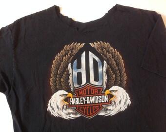 Vintage 80s / 90s Harley Davidson crew and eagle print tee / Cincinnati / biker