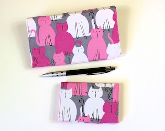 Pink Cats RFID Blocking Card Case, with Duplicate Checkbook Cover,  Check Book and Business Card Case, Cheque Book