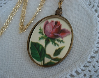 Vintage Rose Hand Painted Effect Mirrored Glass Gold Pendant Necklace Luminous 1940's
