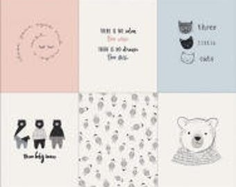 "Make a Wish Panel from Nest for Art Gallery Fabrics - 36"" x 44"" Panel Bears, Kittens, Wish, Dream Children Kids"