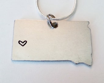 Hand Stamped South Dakota State Necklace with Heart Over your City