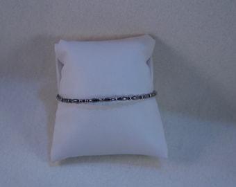Vintage Narrow Sterling Ball and Bead Bangle Bracelet