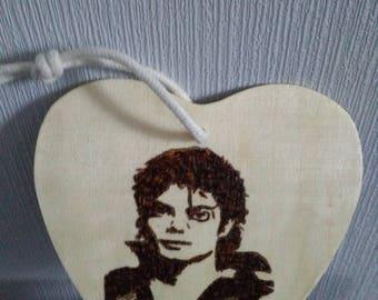 Michael Jackson on birch wood