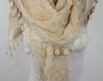 Mothers Day Gift For Her Lace Scarf Shawl  Fashion Scarf Wedding Scarf Boho  Fashion Accessories Gift For Mom Holiday clothing gift