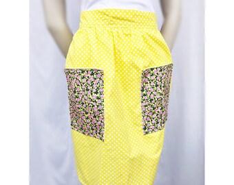 Polka dot and rose hostess apron