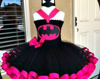 Batgirl  Tutu Dress (Crochet top,Ribbon Trim), use as a costume or a Birthday celebratiion