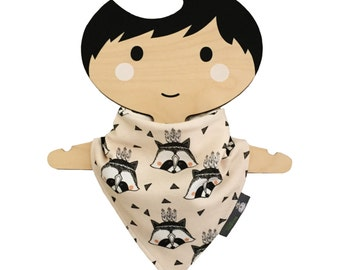 Bandana dribble bib, baby bib, organic cotton, raccoons, baby gift, baby clothing, teething baby, modern babies, dribble