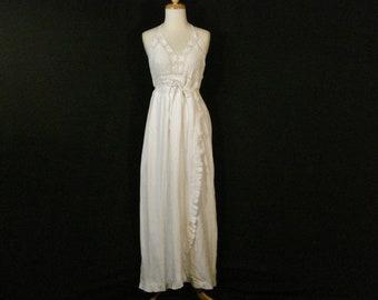 White Cotton Crochet Long Dress Backless Vintage Venus Ruffled Gauze Maxi Dress M