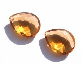 Matched Pair - AAA Honey Quartz Front Drilled Faceted Pear Briolettes Large Size 21x16mm Approx