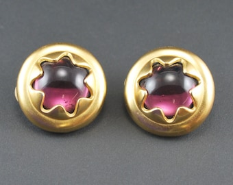 Vintage Poured Glass Earrings Purple & Gold Tone Clip On
