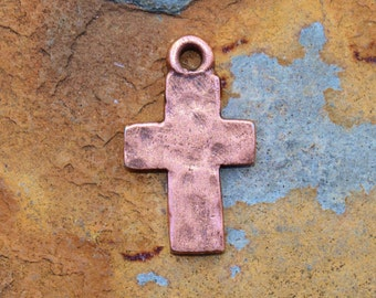 Antique Copper Rustic Cross Charms 17.5x10.7mm  Nunn Designs LOW SHIPPING