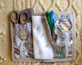 Owl Party Needle Book, Needle Case, Hand Sewing Organizer