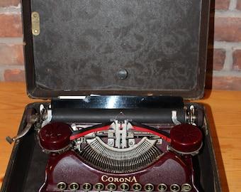 1924 Vintage Corona 4 Typewriter- MAROON
