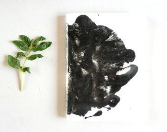 Black and white handmade Notebook - Rorschach Inkblot Art