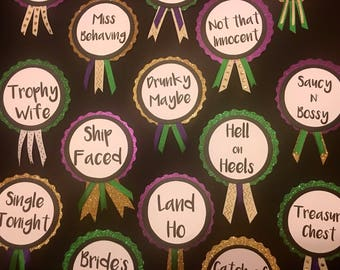 Mardi Gras Themed Bridal Shower Pins,  Bachelorette Party Pins