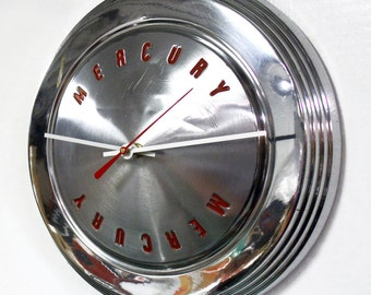 Mercury Wall Clock - 1962 1963 Mercury Meteor Hub Cap Clock - Mercury Comet Hubcap - Retro Recycled Industrial Home Decor - Mens Gift
